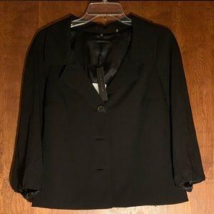 Elie Tahari Keren Jacket Black Wool Cropped Sleeve